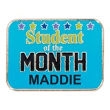 Personalized Rectangle Award Pin - Student of the Month