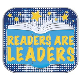 Reading Award Pin - Blue and Yellow Readers Are Leaders