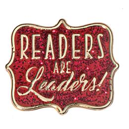 Readers are Leaders Red Glitter Pin