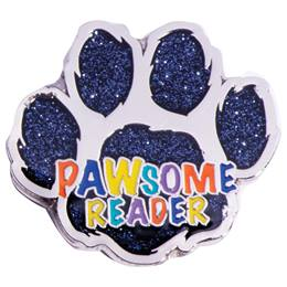 Reading Award Pin - Glitter Paw Pawsome Reader