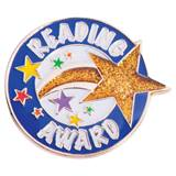 Reading Award Pin - Gold Glitter Shooting Star