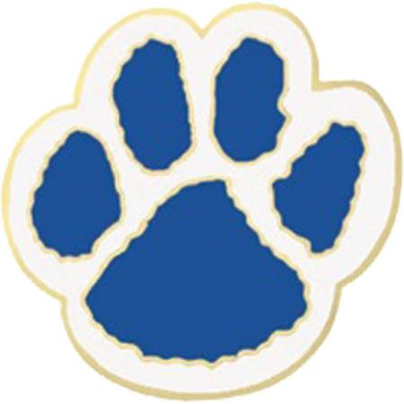 Award Pin - Blue and White Paw
