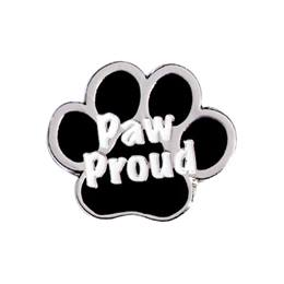 Paw Award Pin - Black and Silver Paw Proud