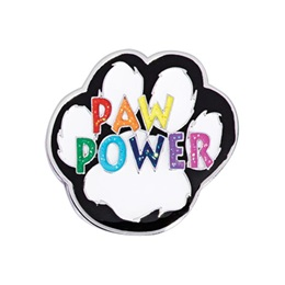 Paw Award Pin - Rainbow Paw Power Glitter