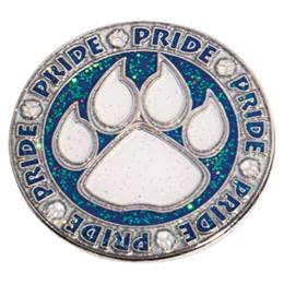 Blue Glitter Pride Paw Circle Pin