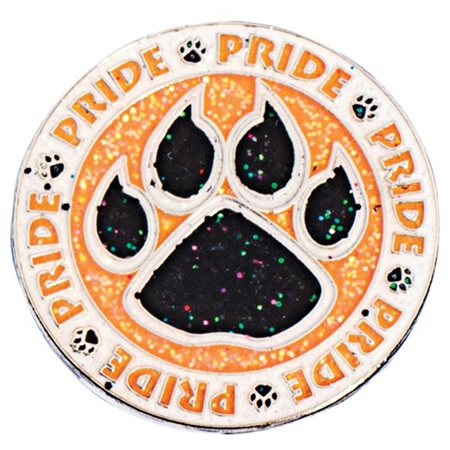 Black and Orange Glitter Pride Paw Circle Pin