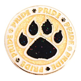Black and Gold Glitter Pride Paw Circle Pin
