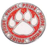 Red and White Glitter Pride Paw Circle Pin