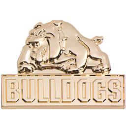 3D Mascot Award Pin - Molded Gold Bulldogs