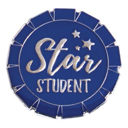 Blue Star Student Round Ribbon Pin