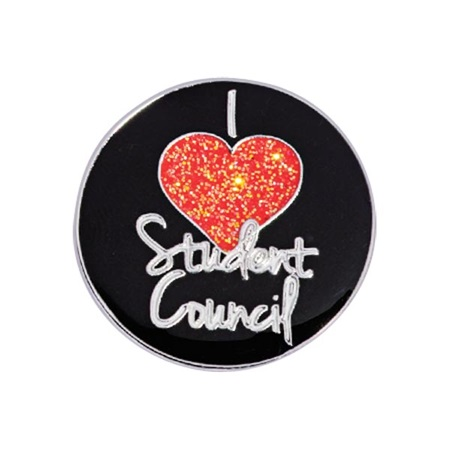 Student Council Award Pin - Glitter I (Heart) Student Council