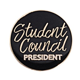 Student Council President Black and Gold Pin