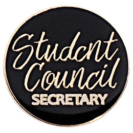 Student Council Secretary Black and Gold Pin