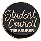 Student Council Treasurer Black and Gold Pin
