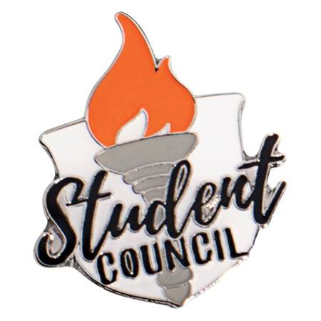 Student Council Torch and Shield Pin