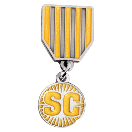 Gold and Silver Striped Student Council Dangler Ribbon Pin