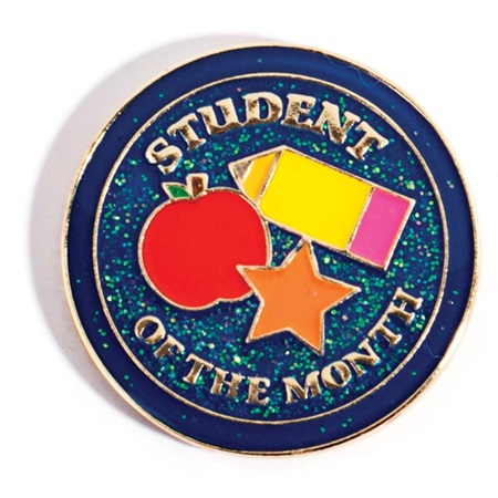 Student of the Month Award Pin - Glitter Apple, Star, and Pencil