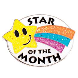Glitter Star of the Month Pin