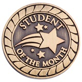 Student of the Month Award Pin - Brushed Metal Shooting Star