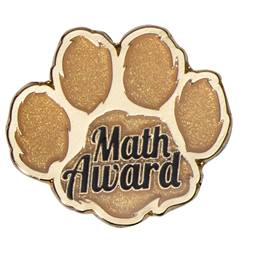 Math Award Gold Paw Glitter Pin