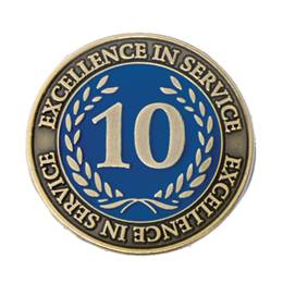 Gold Laurel 10 Year Service Award Pin