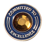 Committed to Excellence Pin with Gold Rhinestone