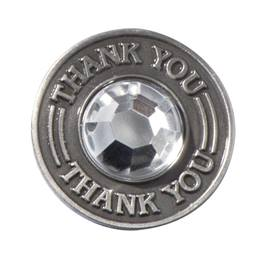 Thank You Pin with Clear Rhinestone