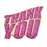 Thank You Award Pin - Pink Glitter
