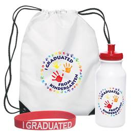 I Graduated From Kindergarten Handprints Backpack/Water Bottle/Wristband Set