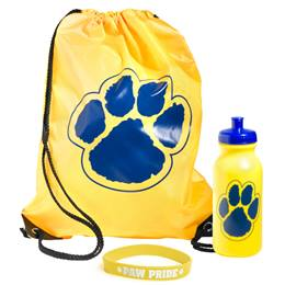 Paw Bag, Bottle, and Wristband Set - Gold