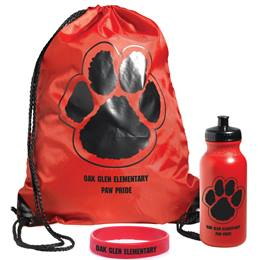 Custom Paw Backpack, Bottle, and Wristband Award Set