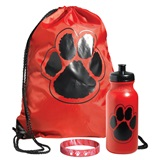 Paw Bag, Bottle, and Wristband Set - Red