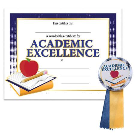 Certificate/Button Award Set - Academic Excellence