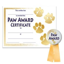Certificate/Button Award Set - Gold Paw