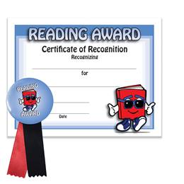 Certificate/Button Award Set - Book Guy Reading Award