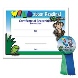 Certificate/Button Award Set- Wild About Reading