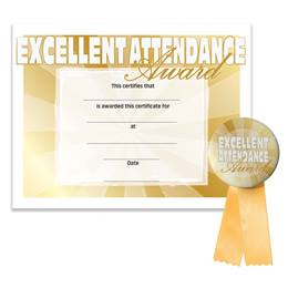 Certificate/Button Award Set - Excellent Attendance