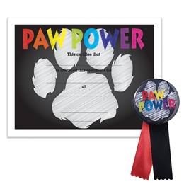 Certificate/Button Award Set- Paw Power Chalkboard