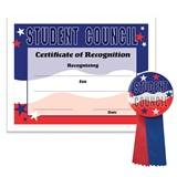 Certificate/Button Award Set- Red, White, and Blue Student Council