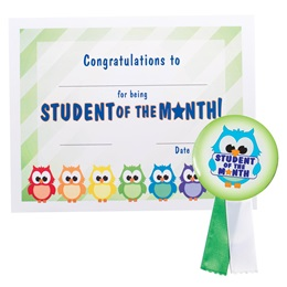 Certificate/Button Award Set - Student of the Month Owl