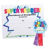 Certificate/Button Award Set - Super Reader