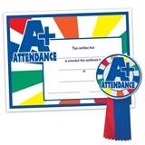 Certificate/Button Award Set - A+ Attendance