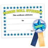 Certificate/Button Award Set - Honor Roll Student/Blue Stars