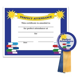 Certificate/Button Award Set - Perfect Attendance
