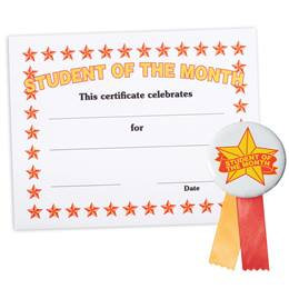 Certificate/Button Award Set - Orange Stars Student of the Month