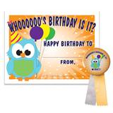 Certificate/Button Set - Birthday Owl