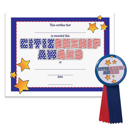 Certificate/Button Award Set - Citizenship