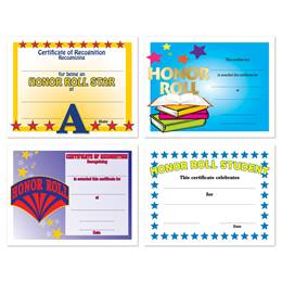 Assorted Certificate Set - Honor Roll