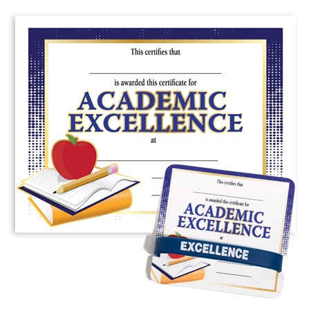 Wristband/Mini Certificate Award Set - Academic Excellence