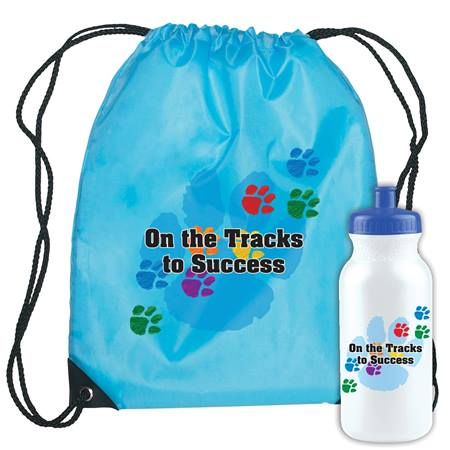 On The Tracks to Success Backpack and Water Bottle Set